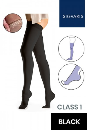 Sigvaris Essential Comfortable Unisex Class 1 Thigh High Black Compression Stockings with Grip Top and Open Toe