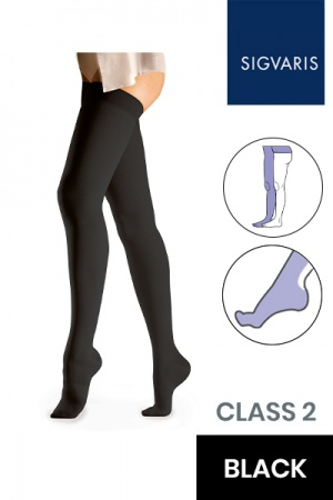 Sigvaris Essential Comfortable Unisex Class 2 Black Compression Tights with Waist Attachment