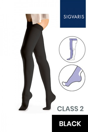 Sigvaris Essential Comfortable Unisex Class 2 Black Compression Tights with Waist Attachment and Open Toe