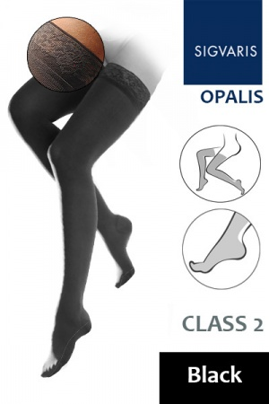 Sigvaris Opalis Class 2 Black Thigh High Compression Stockings