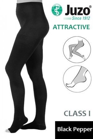 Juzo Attractive Class 1 Black Pepper Compression Tights with Open Toe