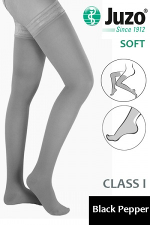 Juzo Soft Class 1 Black Pepper Thigh Compression Stockings with Tricot Border