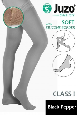Juzo Soft Class 1 Black Pepper Thigh Compression Stockings with Silicone Border