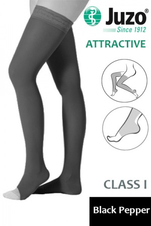 Juzo Attractive Class 1 Black Pepper Thigh High Compression Stockings with Open Toe