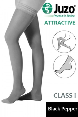 Juzo Attractive Class 1 Black Pepper Thigh High Compression Stockings