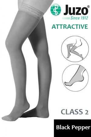 Juzo Attractive Class 2 Black Pepper Thigh High Compression Stockings