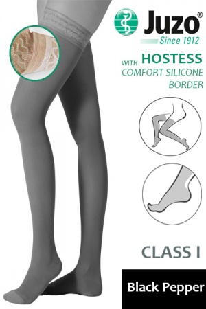 Juzo Hostess Class 1 Black Pepper Thigh High Compression Stockings with Comfort Silicone Border