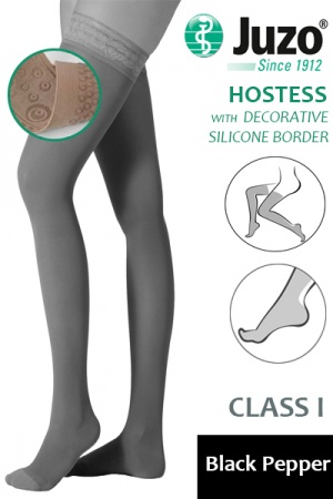 Juzo Hostess Class 1 Black Pepper Thigh High Compression Stockings with Decorative Silicone Border