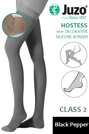 Juzo Hostess Class 2 Black Pepper Thigh High Compression Stockings with Decorative Silicone Border
