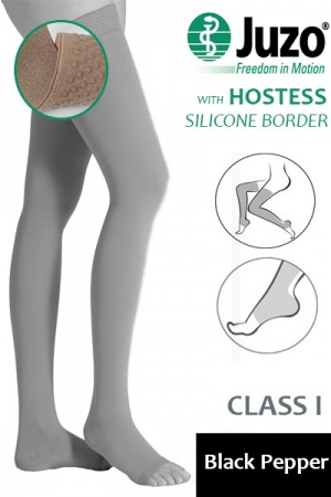 Juzo Hostess Class 1 Black Pepper Thigh High Compression Stockings with Open Toe and Silicone Border