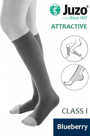 Juzo Attractive Class 1 Blueberry Below Knee Compression Stocking with Open Toe