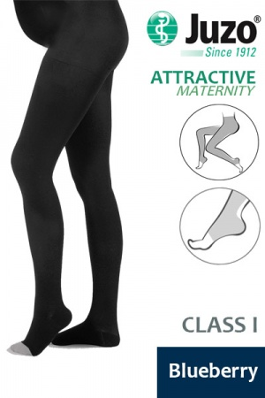 Juzo Attractive Class 1 Blueberry Maternity Compression Tights with Open Toe
