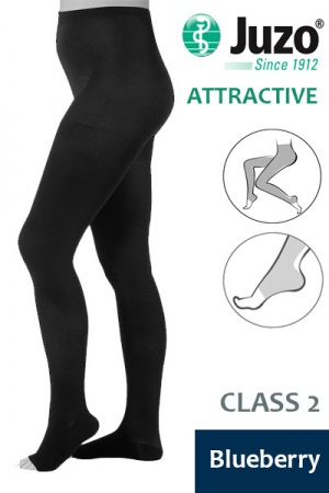 Juzo Attractive Class 2 Blueberry Compression Tights with Open Toe