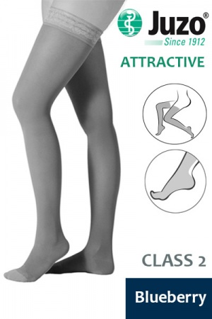 Juzo Attractive Class 2 Blueberry Thigh High Compression Stockings