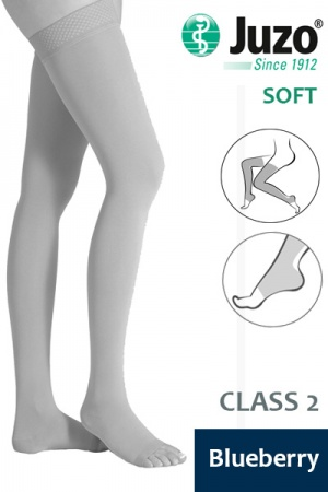 Juzo Soft Class 2 Blueberry Thigh Compression Stockings with Open Toe and Tricot Border