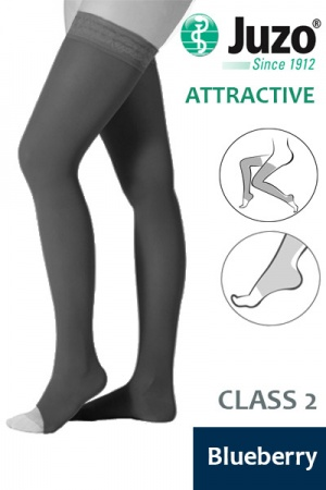 Juzo Attractive Class 2 Blueberry Thigh High Compression Stockings with Open Toe
