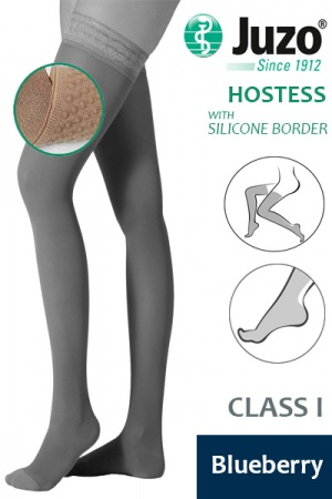 Juzo Hostess Class 1 Blueberry Thigh High Compression Stockings with Silicone Border
