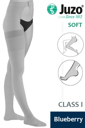 Juzo Soft Class 1 Blueberry Thigh Compression Stocking with Waist Attachment