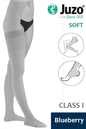 Juzo Soft Class 1 Blueberry Thigh Compression Stocking with Open Toe and Waist Attachment