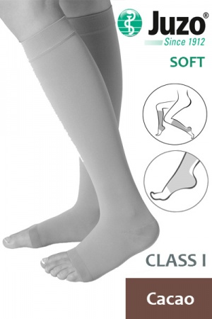 Juzo Soft Class 1 Cacao Calf Compression Stockings with Open Toe