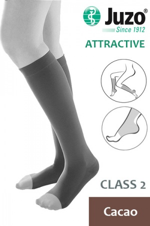Juzo Attractive Class 2 Cacao Below Knee Compression Stocking with Open Toe