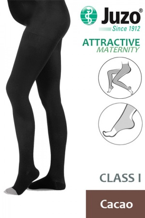 Juzo Attractive Class 1 Cacao Maternity Compression Tights with Open Toe