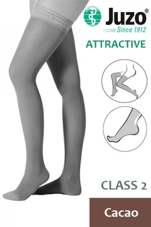 Juzo Attractive Class 2 Cacao Thigh High Compression Stockings