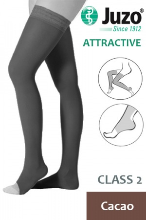 Juzo Attractive Class 2 Cacao Thigh High Compression Stockings with Open Toe