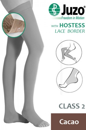 Juzo Hostess Class 2 Cacao Thigh High Compression Stockings with Open Toe and Lace Silicone Border