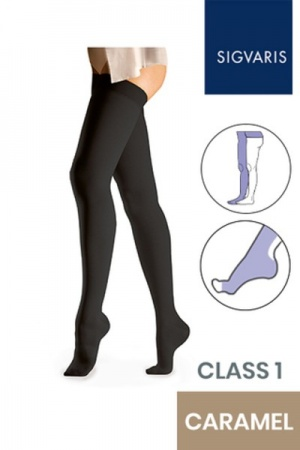 Sigvaris Essential Comfortable Unisex Class 1 Caramel Compression Tights with Waist Attachment and Open Toe