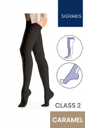 Sigvaris Essential Comfortable Unisex Class 2 Caramel Compression Tights with Waist Attachment and Open Toe
