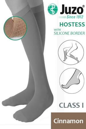 Juzo Hostess Class 1 Cinnamon Knee High Compression Stockings with Thin Silicone Border