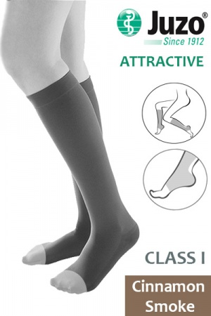 Juzo Attractive Class 1 Cinnamon Smoke Below Knee Compression Stockings with Open Toe
