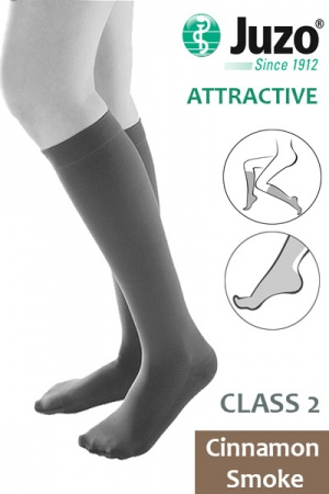 Juzo Attractive Class 2 Cinnamon Smoke Below Knee Compression Stockings with Open Toe