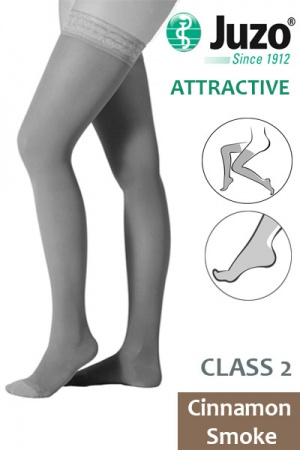 Juzo Attractive Class 2 Cinnamon Smoke Thigh High Compression Stockings