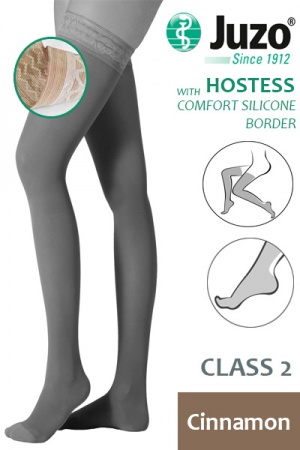 Juzo Hostess Class 2 Cinnamon Thigh High Compression Stockings with Comfort Silicone Border
