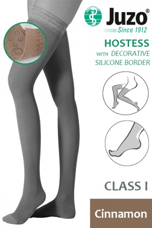 Juzo Hostess Class 1 Cinnamon Thigh High Compression Stockings with Decorative Silicone Border