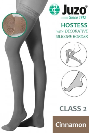 Juzo Hostess Class 2 Cinnamon Thigh High Compression Stockings with Decorative Silicone Border