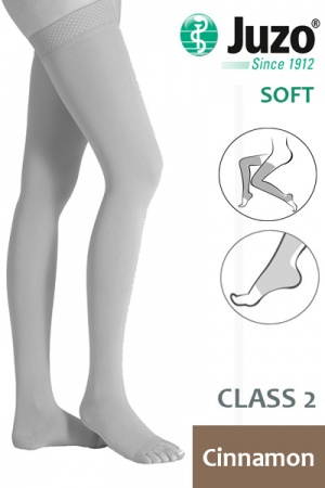 Juzo Soft Class 2 Cinnamon Thigh Compression Stockings with Open Toe and Tricot Border