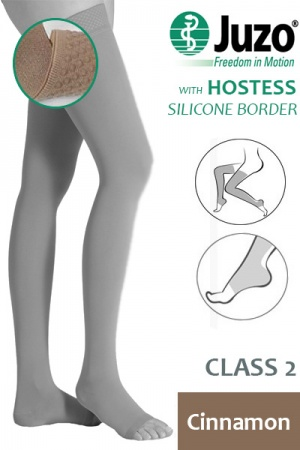 Juzo Hostess Class 2 Cinnamon Thigh High Compression Stockings with Open Toe and Silicone Border