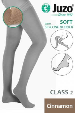 Juzo Soft Class 2 Cinnamon Thigh Compression Stockings with Silicone Border