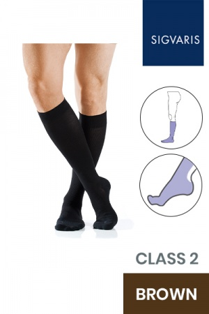Sigvaris Active Masculine Class 2 Knee High Brown Compression Stockings