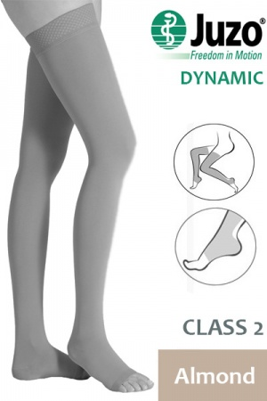 Juzo Dynamic Class 2 Almond Thigh High Compression Stockings with Open Toe and Tricot Border