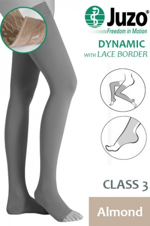 Juzo Dynamic Class 3 Almond Thigh High Compression Stockings with Open Toe and Lace Silicone Border