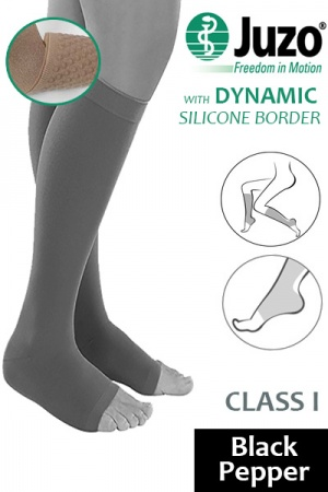 Juzo Dynamic Class 1 Black Pepper Knee High Compression Stockings with Open Toe and Thin Silicone Border