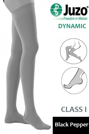 Juzo Dynamic Class 1 Black Pepper Thigh High Compression Stockings with Tricot Border