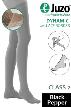 Juzo Dynamic Class 2 Black Pepper Thigh High Compression Stockings with Lace Silicone Border