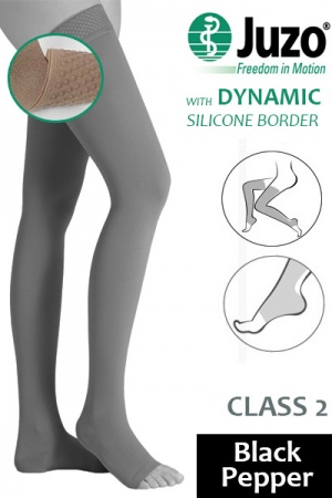 Juzo Dynamic Class 2 Black Pepper Thigh High Compression Stockings with Open Toe and Silicone Border