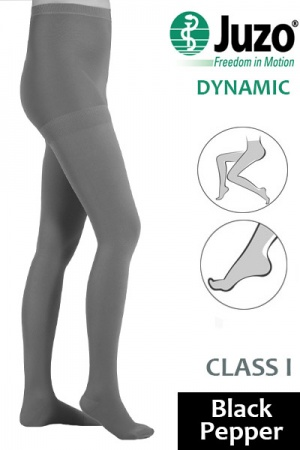 Juzo Dynamic Class 1 Black Pepper Compression Tights