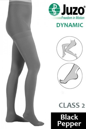 Juzo Dynamic Class 2 Black Pepper Compression Tights